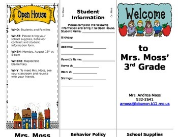 Back to School Welcome Brochure