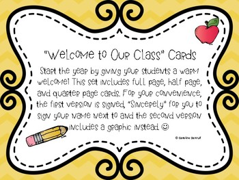 Back to School Welcome Cards