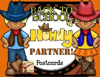 Back to School Welcome Howdy Partner Postcards with a West