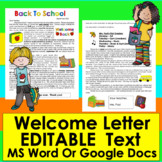 Welcome Letter For Parents: Editable For Your Own Details!