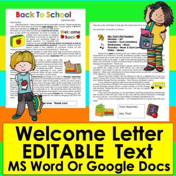 Welcome Letter For Parents: Editable For Your Own Details! | TpT