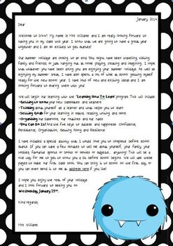 Back to School - Welcome Letter Pack