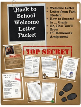Back to School Welcome Letter Packet-Top Secret! {Editable}
