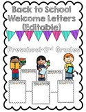 Back to School Welcome Letter Templates (Editable!)