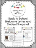 Back to School Welcome Letter & Student Snapshot - Rustic/Upcycle