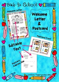 Back to School Welcome Letter and Postcard {Editable}