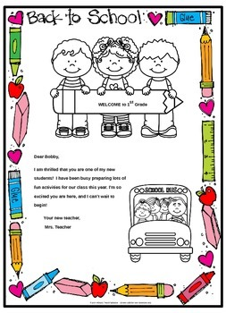 Back To School Welcome Letter And Postcard Editable By
