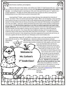 Back to School Wel e Introduction Letter Elementary Great for