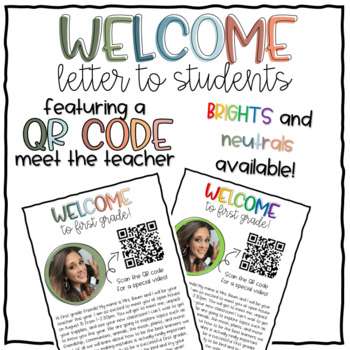 Back to School Welcome Letter to Students - QR Code Read Aloud [EDITABLE]