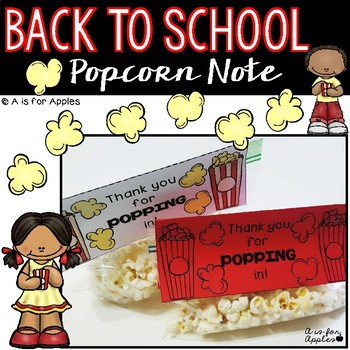 Back to School Welcome Note {Popcorn Theme}