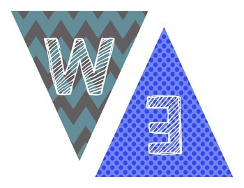 Back to School Welcome Pennant Banner in Chevron and Polka Dot