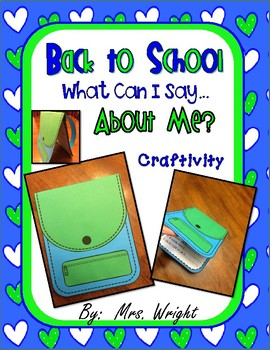 Back to School What Can I Say About Me Craftivity