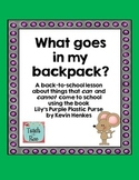Back to School   What Goes in My Backpack? Lesson