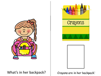 Back to School-What's in My Backpack?  ADAPTED  BOOK & FILE FOLDER Color and B/W
