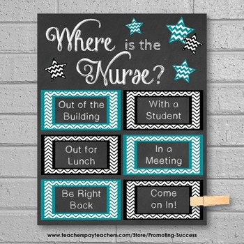 Where is the School Nurse Poster, Teal and Black Nursing Office Decor