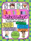 """Back to School """"Who's Who?"""" and other FUN activities to START your School Year!"""