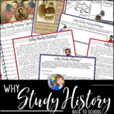 Why Study History? Back to School Activity
