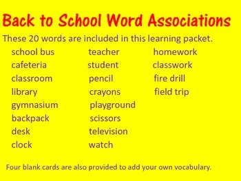 Back to School Word Associations