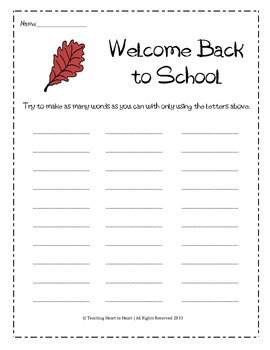 Back to School Word Bank Activity