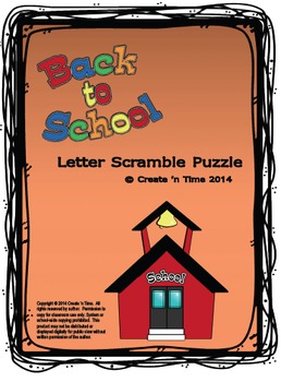 Back to School Letter Scramble Puzzle Packet with Key