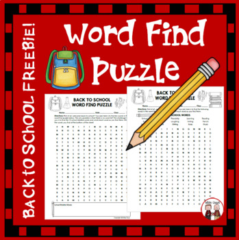 Back to School Word Find Puzzle (FREE)