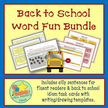 Back to School Word Work - Idioms & Silly Sentences for Fl