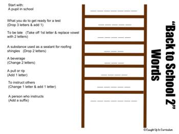Back to School Word Ladder Set