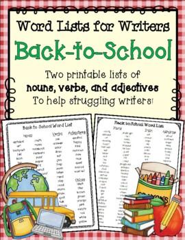 Back to School Word List