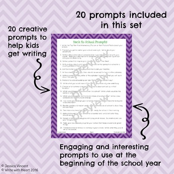 Back to School Word List and Prompts