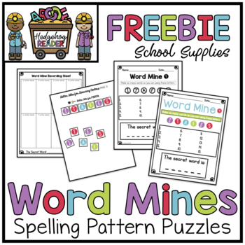 Back to School Word Mine FREEBIE  -  CCSS Spelling Patterns Activity