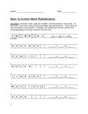 Back to School Word Multiplication