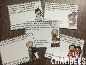 Back to School Word Problem Cards: Addition, Subtraction, Money, Patterns