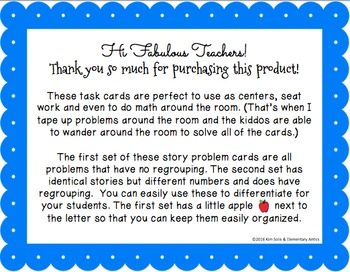 Back to School Word Problem Task Cards (2 and 3 Digit Addition & Subtraction)