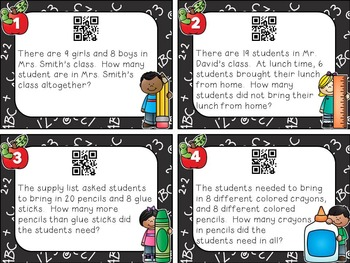 Back to School Word Problem Task Cards -Basic Addition and Subtraction Facts