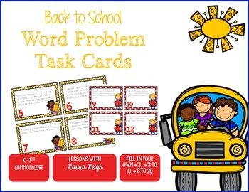 Back to School Word Problem Task Cards & Game Board (K-2)