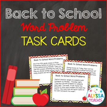 Back to School Word Problem Task Cards (Grade 4/5)