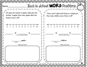 Back to School Word Problems Freebie Sampler