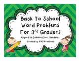 Back to School Word Problems Third Grade