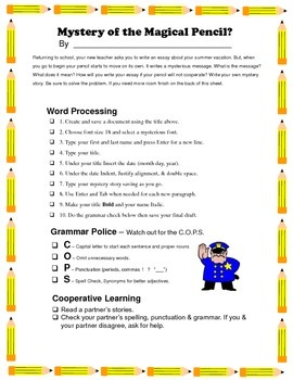 Back to School Word Processing Mystery Stories