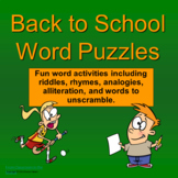 Back to School Word Puzzles PowerPoint