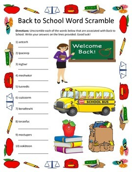 Back to School  Word Scramble- 10 Words