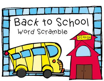 Back to School Word Scramble