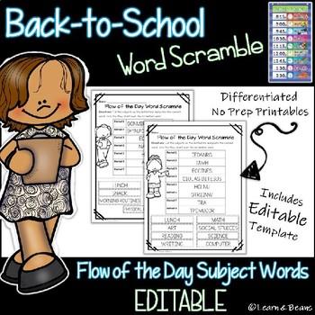 Back to School Word Scramble - EDITABLE