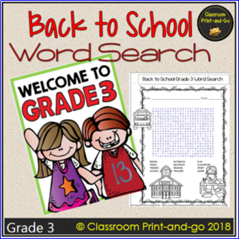 Back to School Word Search 3rd Grade