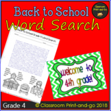 Back to School Word Search 4th Grade