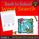 Back to School Word Search 5th Grade