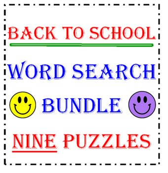 Back to School Word Search Bundle (NINE Puzzles)