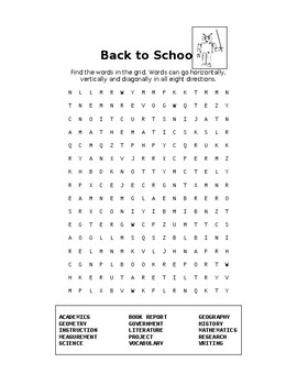 Back to School Word Search Collection