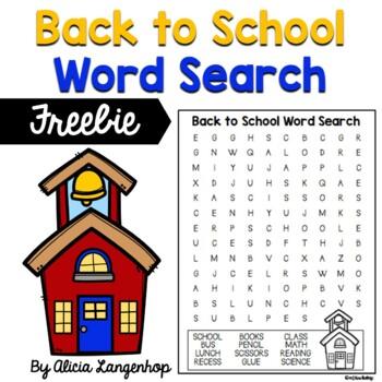 Back to School Word Search *FREEBIE*