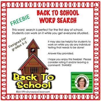 FREEBIE Back to School Word Search
